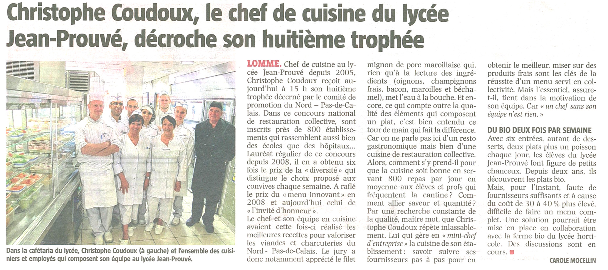 Articles de presse sur le restaurant scolaire bienvenue for Article de restaurant